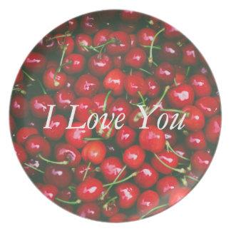 Prato Eu te amo - design da cereja