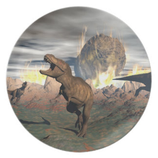 Prato Exctinction do dinossauro do tiranossauro - 3D