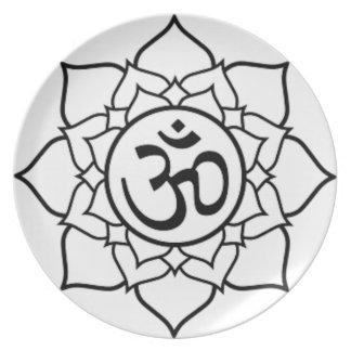 Prato Flor de Lotus, preta com fundo branco