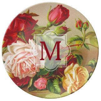 Prato Flores do buquê dos rosas do Victorian do vintage