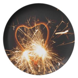 Prato Foto macro de um sparkler ardente no formulário de