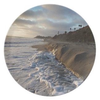 Prato Fotografia das ondas que batem a areia