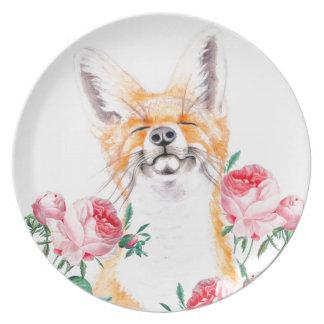 Prato Foxy feliz e rosas