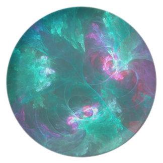 Prato Fractal abstrato em uma paleta fria