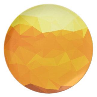 Prato Fundo do polígono do abstrato do amarelo do Cyber