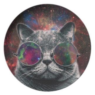 Prato Gato do espaço que veste óculos de proteção na