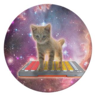 Prato gato do teclado - gato de gato malhado - gatinho