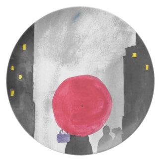Prato Guarda-chuva vermelho