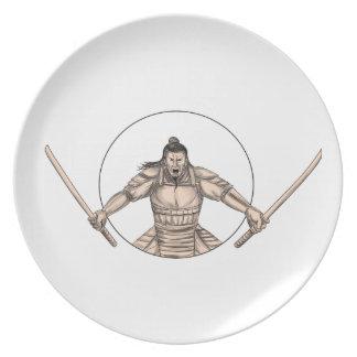 Prato Guerreiro do samurai que Wielding o tatuagem de