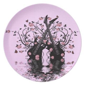 Prato Guitarra e placa cor-de-rosa da melamina dos rosas