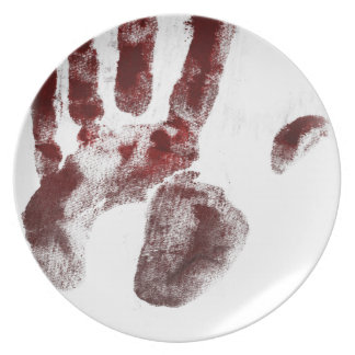Prato Handprint do sangue do assassino em série
