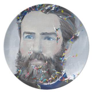 Prato Herman Melville - retrato do óleo
