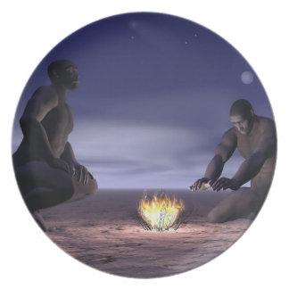 Prato Homo erectus e fogo - 3D rendem