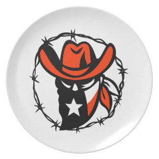 Prato Ícone foragido do fio de Barb da bandeira de Texas