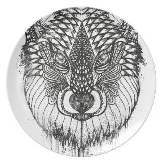 Prato Ilustração da mandala do lobo