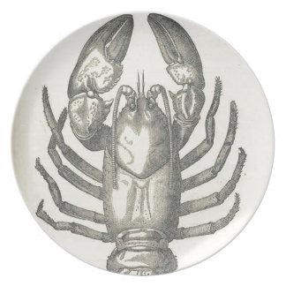 Prato Ilustração das lagostas do vintage (1896)