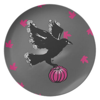 Prato ilustração do Dia das Bruxas de um corvo e de uma