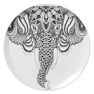 Prato Ilustração do elefante da mandala, tirando.