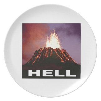 Prato inferno do vulcão