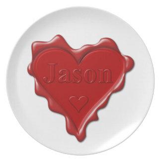 Prato Jason. Selo vermelho da cera do coração com Jason