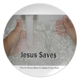 Prato Jesus na água com dois polegares levanta a