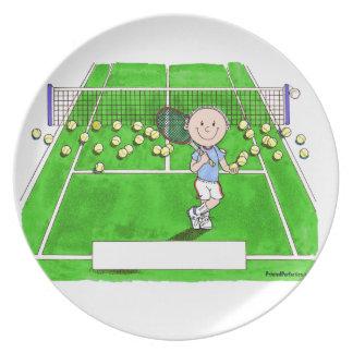Prato Jogador de ténis, homem - desenhos animados