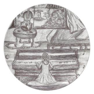 Prato Jogando o piano em um dia chuvoso