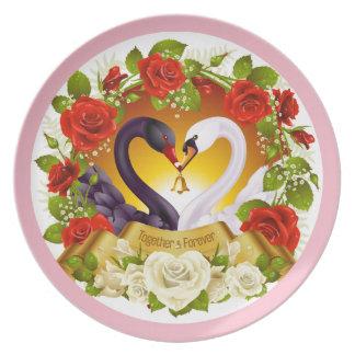 Prato Junto para sempre rosas & placa da melamina da