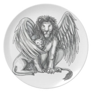 Prato Leão voado que protege o tatuagem de Cub