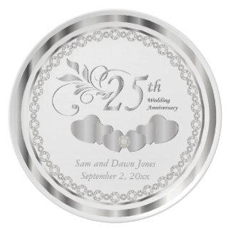 Prato Lembrança branca e de prata elegante do