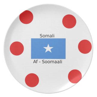 Prato Língua e design somalianos da bandeira de Somália