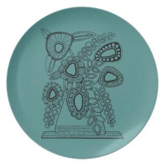 Prato Linha floral retro design do vaso da arte