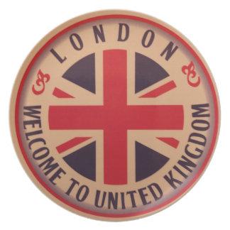 Prato Londres - Union Jack - boa vinda a Reino Unido