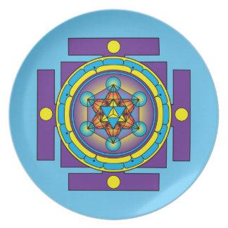 Prato Mandala de Merkaba do cubo de Metatron