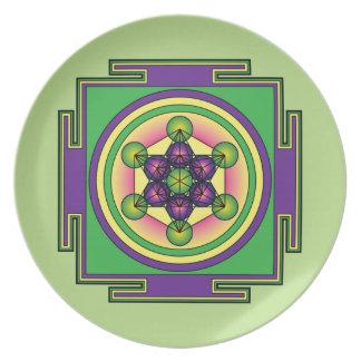 Prato Mandala do cubo de Metatron