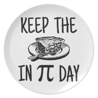 Prato Mantenha a torta no dia do Pi