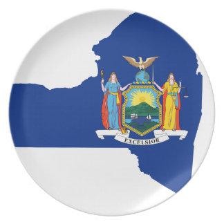 Prato Mapa da bandeira de New York