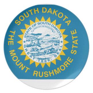 Prato Mapa da bandeira de South Dakota