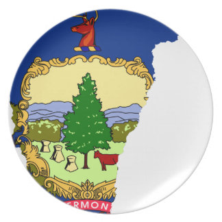 Prato Mapa da bandeira de Vermont