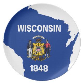 Prato Mapa da bandeira de Wisconsin