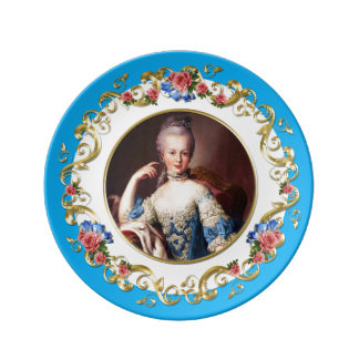 Prato Marie Antoinette  Pink Rose Turquoise Blue Plate