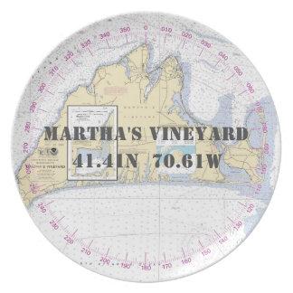Prato Martha's Vineyard náutico da longitude da latitude