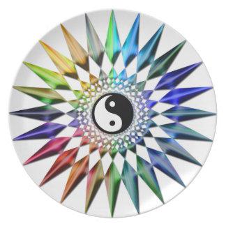 Prato Meditação colorida Tao da ioga calma do zen de Yin