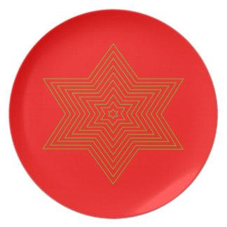 Prato Melaminteller com estrela em vermelho e de ouro