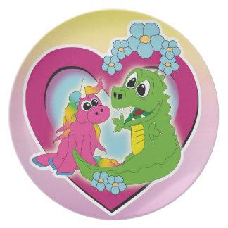 Prato melhores amigos pequenos - unicórnio e dragão