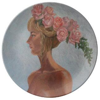Prato menina bonita com rosas - placa decorativa