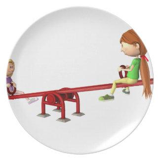 Prato Meninas dos desenhos animados em um balanço