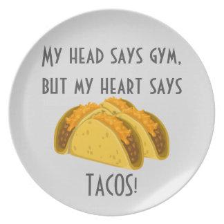 Prato Meu principal diz que o gym meu coração diz o