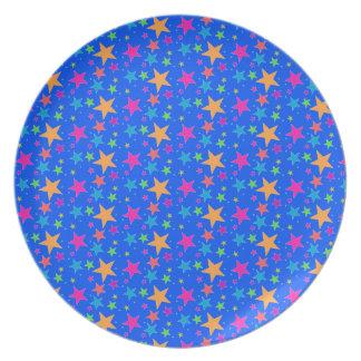 Prato Mini estrelas do multi arco-íris - placa da rocha