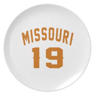Prato Missouri 19 designs do aniversário